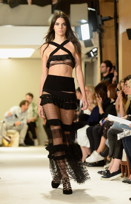 Model Kendall Jenner walks the runway during the Sonia Rykiel show as part of the Paris Fashion Week Womenswear Spring/Summer 2015 on September 29, 2014 in Paris, France.