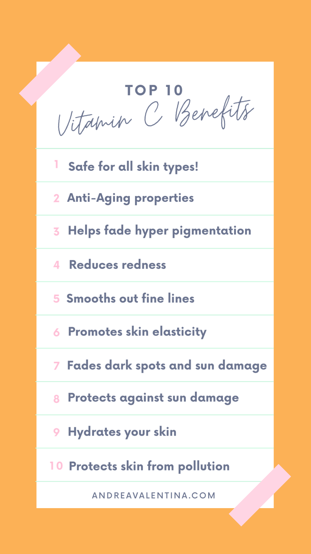 The Top 10 Benefits of using Vitamin C in your Skincare Routine.