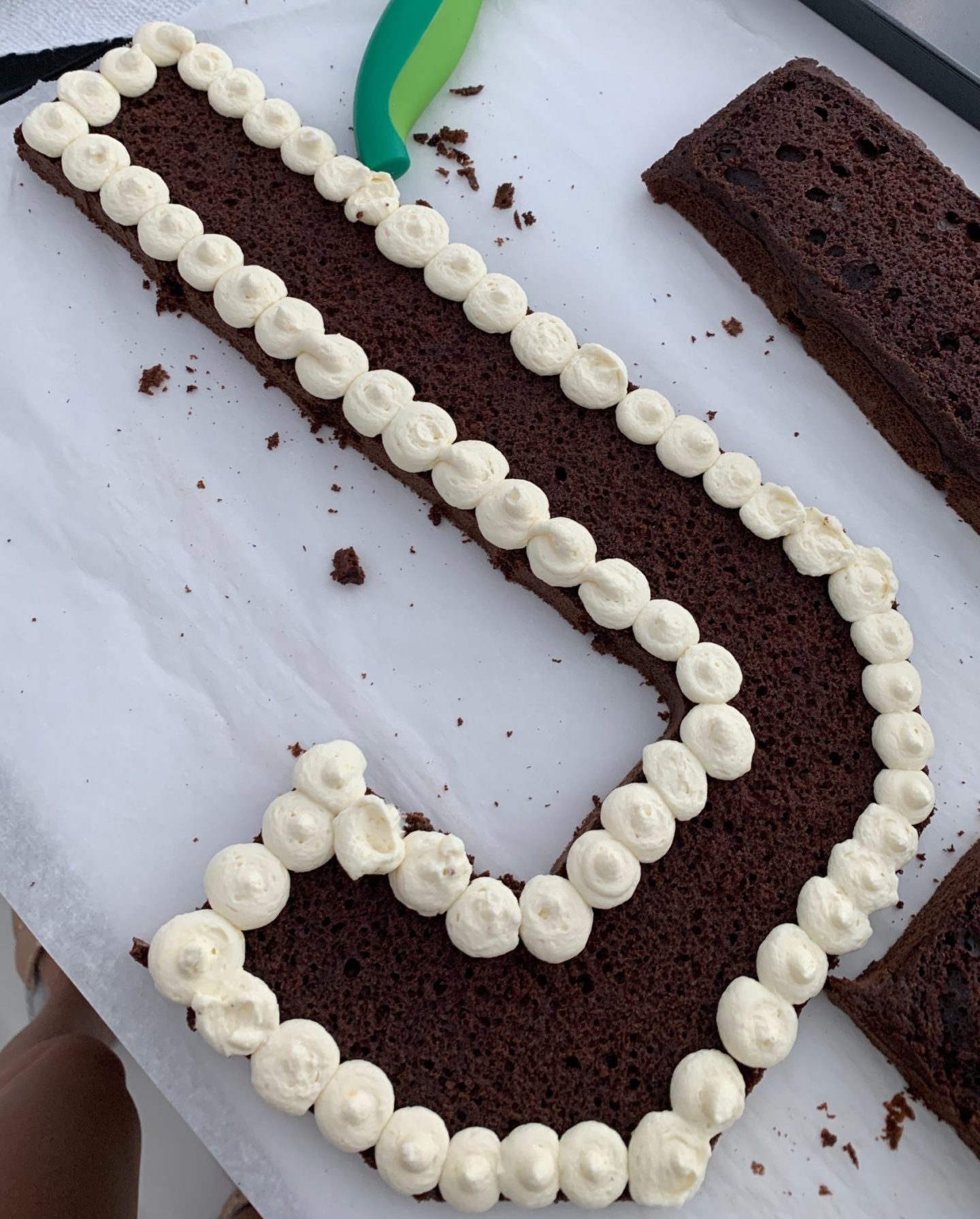 Letter cake in the making