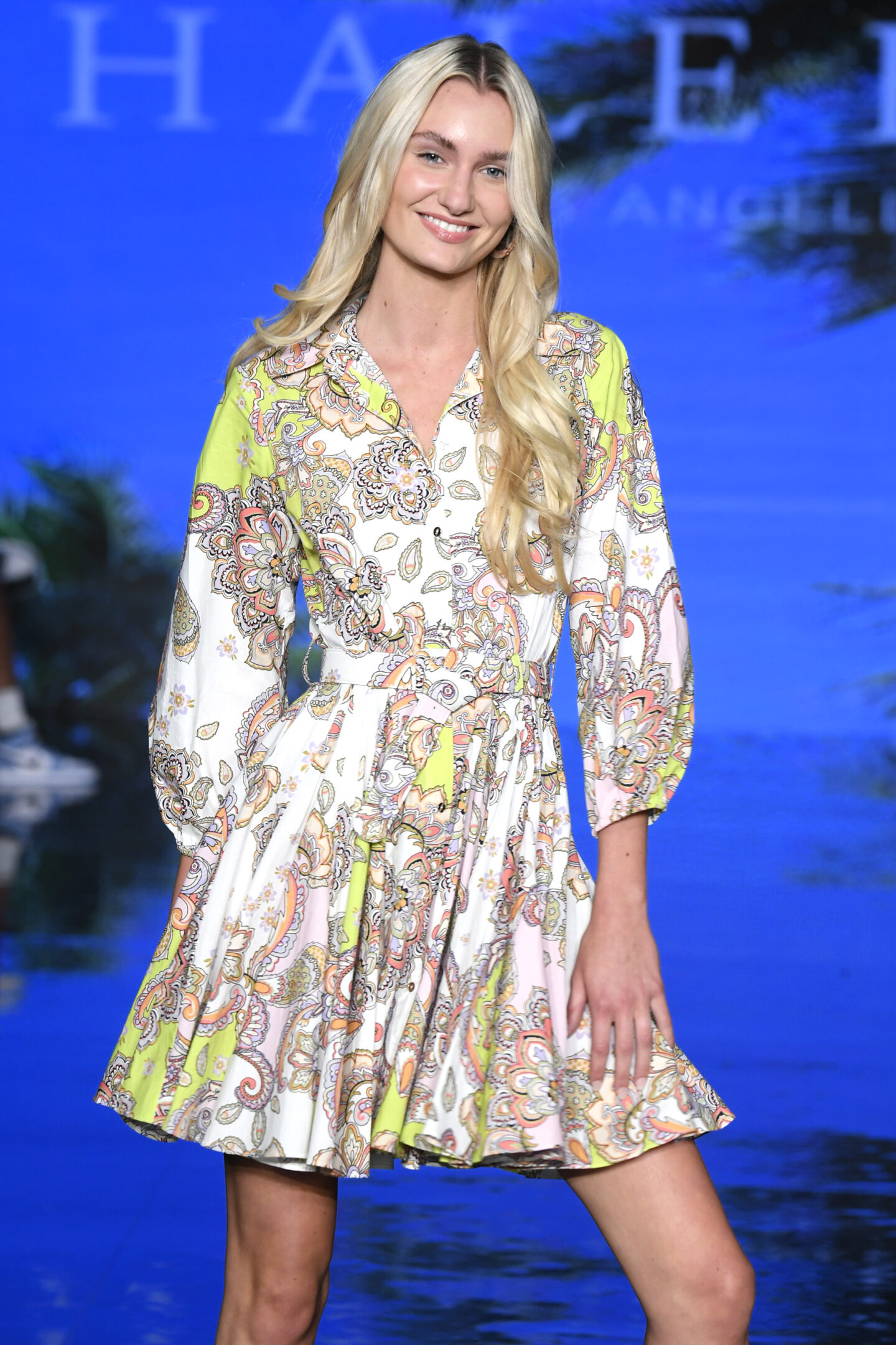 MIAMI BEACH, FLORIDA - JULY 11: A model walks the runway at the Hale Bob Show during Miami Swim Week Powered By Art Hearts Fashion at Faena Forum on July 11, 2021 in Miami Beach, Florida. (Photo by Arun Nevader/Getty Images for Art Hearts Fashion)